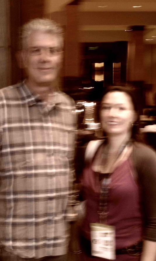 Mikki and a Blurry Tony Bourdain